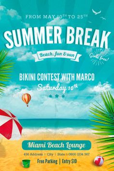 Summer Break Flyer Template - http://www.ffflyer.com/summer-break-flyer-template/ Summer Break Flyer Template - Party flyer template made in Photoshop. The format is 4×6 inches with 0.125 inches bleed all around.  #Beach, #Club, #Cool, #Dj, #Electro, #House, #Ice, #Lounge, #Nightclub, #Party, #Pool, #Summer, #Sun