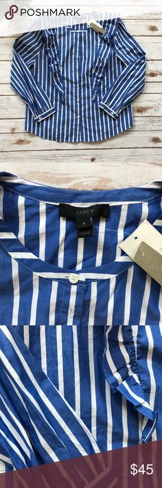 NWT J. CREW white and blue stripe ruffle shirt NWT J. Crew blue and white stripe ruffle button down shirt. J. Crew Tops Button Down Shirts