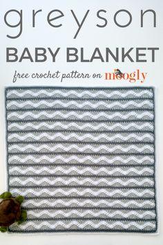Greyson Baby Blanket - free crochet pattern on Mooglyblog.com!  *** #baby gifts #crochet patterns #moogly #freebies #home decor #nursery #layette #chevron #ripple #shades of grey #crafts #diy #neutrals #design