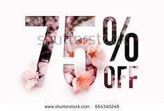 75% off discount promotion sale Brilliant poster, banner, ads. Precious Paper cut with real sakura flowers and leaves. For your unique selling poster / banner promotion offer percent discount ads.