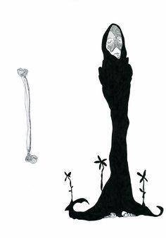 lucas repetto — Desenho, ela(e) e o osso, Papel A4 (75g/m² 210mm x 297mm), Nanquim.