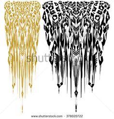 Animal pattern print on a black background. Hand drawn illustration for textile design. Leo spots, tiger spotted, indian tribal stripes pattern. Boho chic artistic animal design