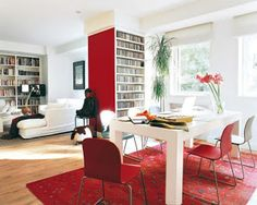 Red accent wall and rug