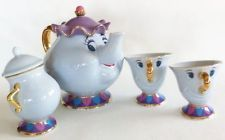 I NEED THIS. I NEED THIS SO BAD. Tokyo Disney resort limited Beauty and the Beast teapot teacup X 2 sugar pot NEW
