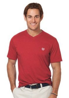 Chaps  MAR SOLID V NECK TEE-NANTUCKETRED