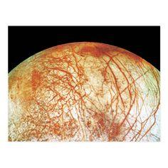Jupiter's Moon Europa Postcard Jupiter's Moon Europa, Jupiter Moons, Science Fiction Art, Solar System, Planets, Nasa Space, Affair, Muse, Photograph