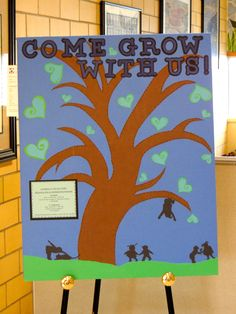 New school year registration board.  Forms are located in back.  Each time a new student registered for our school we added a butterfly to a tree branch.  Fun and interactive for new little ones!