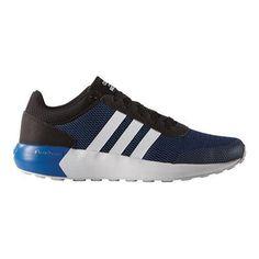 Men s adidas NEO Cloudfoam Race Sneaker Black White Blue 4c9137c5178