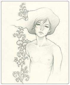 "boy3 by audrey kawasaki  graphite on paper 7.5""x9""  ""Hajimari""@Jonathan Levine Gallery in NY 2009"