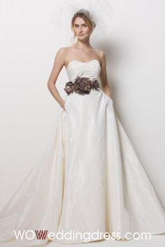Fairy Ruffled Pockets Taffeta Wedding Dresses