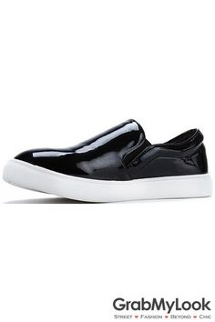 GrabMyLook Black Glossy Wet Look Patent Leather Thick Sole Loafer Women  Shoes Sneakers Platform Loafers For 0e3fa8c7c