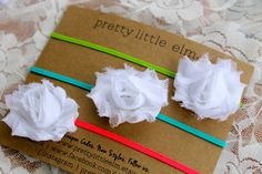 Neon Pink, Green,  and Blue Newborn Headbands - Mini Neon Shabby Chic Flower Headband Trio - Neon Pink - Neon Blue - Neon Green Baby on Etsy, $10.00