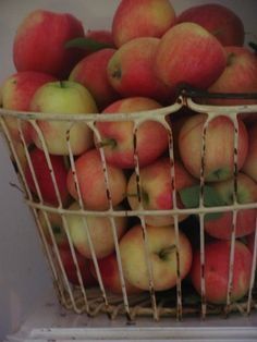 Beautiful vintage wire basket filled to the brim with apples