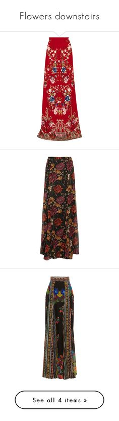"""""""Flowers downstairs"""" by deykav1968 ❤ liked on Polyvore featuring skirts, multi, multi color maxi skirt, long red skirt, colorful maxi skirts, multi colored maxi skirt, patterned skirts, silk skirt, ankle length skirts and ruffled skirts"""