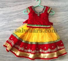 Yellow and Red Stones Skirt - Indian Dresses