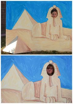 Egyptian Theme Photo Prop... Read like an Egyptian... Put a book outline in the paws. Students draw their fav