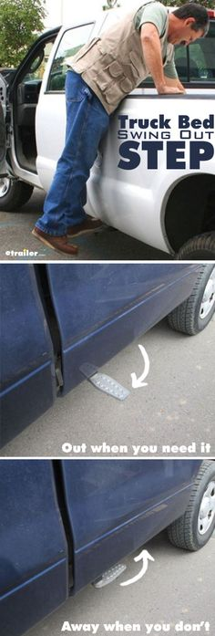 Perfect step up to access gear quickly from your truck bed. This truck bed swing out step tucks up underneath our vehicle and is not noticeable when it's not in use. When you want to use it,  just pull the handle, let go of it, and it'll lock into place because it's spring loaded.