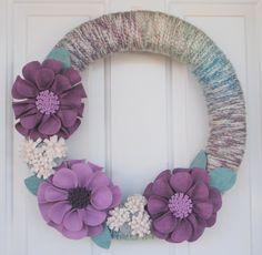 "Felt Flower Wreath - Large Purple Flowers - 18"" Size - Ready to Ship. $54.95, via Etsy."