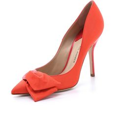 Paul Andrew Euphorbia Pumps - Coral (335 CAD) ❤ liked on Polyvore featuring shoes, pumps, heels, sapatos, обувь, women shoes, pointed toe pumps, breast pump, stilettos and stilettos shoes