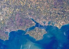 Tim Peake's photo from space of the South Coast of England. Isle of Wight in the… Beautiful World, Beautiful Places, Tim Peake, Chichester, Space Photos, Famous Places, Isle Of Wight, Portsmouth, Aerial Photography