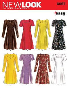 New Look Ladies Easy Sewing Pattern 6567 Fit & Flare Dresses | Sewing | Patterns | Minerva Crafts
