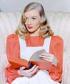 """Veronica Lake reading. Lake (1922–1973) was an American film actress and pin-up model. She received acclaim, notably for her role in Sullivan's Travels and for her femme fatale roles in film noir with Alan Ladd during the 1940s. Well known for her peek-a-boo hairstyle. Lake had a string of broken marriages and long struggles with mental illness and alcoholism. """"I will have one of the cleanest obits of any actress. I never did cheesecake like Ann Sheridan or Betty Grable. I just used my…"""
