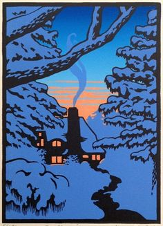 "Laura Wilder - handmade, hand-signed limited edition block print, ""The Gloaming II"". Lino Art, Woodcut Art, Linocut Prints, Art Prints, Block Prints, Painting & Drawing, Encaustic Painting, Silk Painting, Winter Art"