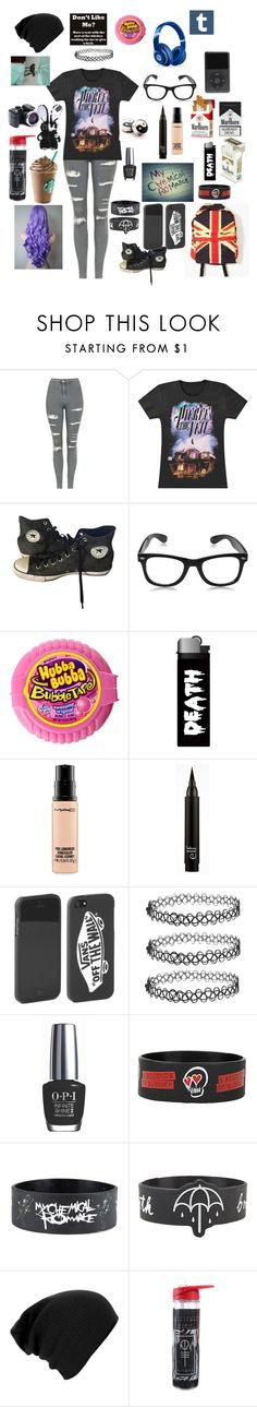 """pierce the veil"" by dannidontknowshit ❤ liked on Polyvore featuring Topshop, Converse, Beats by Dr. Dre, MAC Cosmetics, Vans and OPI"