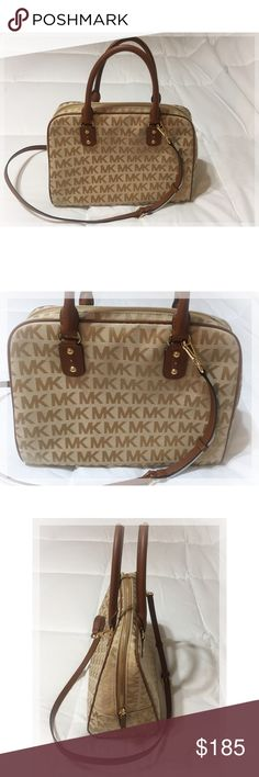 "MICHAEL KORS Signature Satchel Tan/Brown Beautiful MICHAEL KORS Signature Satchel with crossbody strap and handles. Approximate dimensions: Length 14"" Width 6""  Height 10"". If you have any questions please let me know. Michael Kors Bags Satchels"
