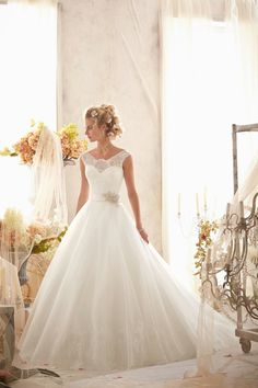 Check out this incredibly beautiful neckline! Mori Lee Wedding Dresses - Style 2607 #morilee #lace #weddingdresses