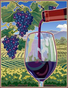 Jeff Jones - Pouring Red Wine in Vineyard Illustration