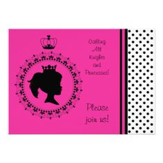 If the little princess is having a party you might consider starting with these hot pink and black princess theme 5x7 customizable birthday invitations! These invites are perfect for any royal affair and are so easy to customize with all your birthday party specifics! #girls #parties #birthdays #customized #personalized #princess #cute #pink #silhouette #royal #spoiled #peacockcards #celebrations