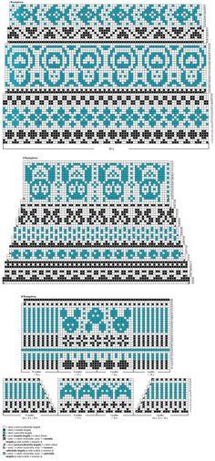 Knit Mittens, Knitted Gloves, Knitting Socks, Wool Socks, Knitting Charts, Knitting Stitches, Knitting Patterns, Fair Isle Chart, Fair Isle Pattern
