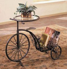 Powell Furniture Rust Glass Tricycle Accent End Table I would buy this for my Living Room if I won 150 dollars from Cymax. 10 Person Dining Table, Metal Furniture, Furniture Design, Powell Furniture, Bicycle Decor, Wrought Iron Decor, Kitchen Table Makeover, Tricycle, Rustic Interiors