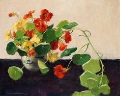 Olle Hjortzberg Indian Cress in Chinese Jar 1943