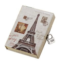 Journal secret diary with lock and password code vintage Eiffel