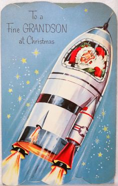 Santa in the Rocket Ship-Space Capsule-Vtg Christmas Card