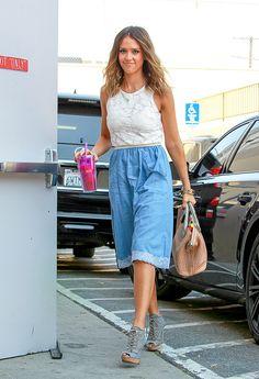 Who: Jessica Alba Wore: A denim skirt Where: Out in LA via StyleList | http://aol.it/1kzqvtT