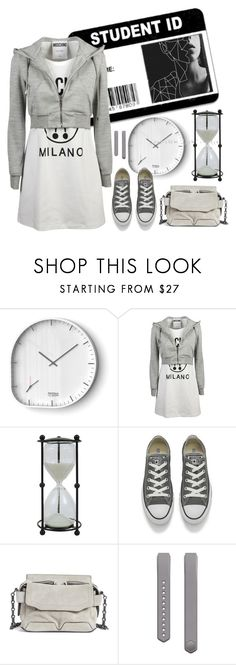 """Time Thief"" by molly2222 ❤ liked on Polyvore featuring Moschino, Creative Co-op, Converse, rag & bone, Fitbit, converse, satchelbag, studentstyle, hoodeddress and twopieceeffect"