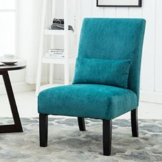 Pisano Teal Blue chenille Fabric Armless Contemporary Accent Chair with Matching Kidney Pillow