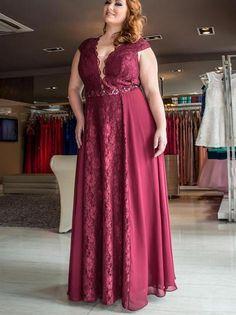 Burgundy Chic Lace Prom Dress Modest Cheap Chiffon Long Prom Dress #VB1816