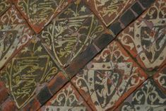RICHARD, EARL OF CORNWALL: 'expensive heraldic tiles demonstrate rising living standards at Cleeve Abbey in the latter part of the Middle Ages. The arms of Henry III and Richard, Earl of Cornwall. History Of Ceramics, Medieval World, Medieval Times, Cardboard Castle, Chalkboard Drawings, Antique Tiles, Encaustic Tile, European History, British History
