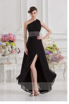 Length one shoulder zip up chiffon black prom dresses christmas sale