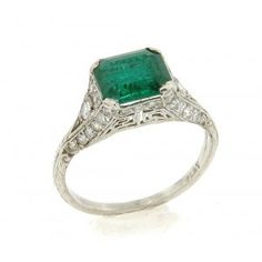 I love emeralds. This would be a beautiful engagement ring. Circa 1930s