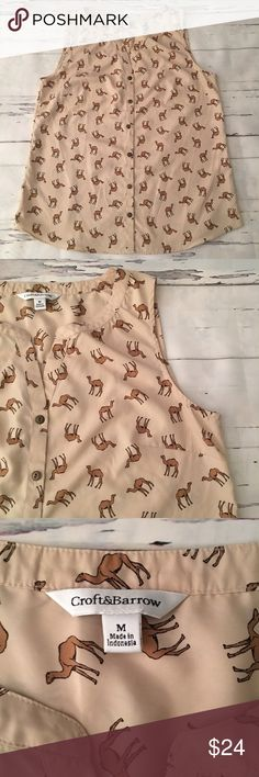 """Croft & Barrow Camel Print Blouse Croft & Barrow Camel Print Blouse, V Neck, button down, sleeveless    🌺Size: Medium 🌺Chest: 19"""" (flat lay, pit to pit) 🌺Length: 25.5"""" 🌺Material: 100% Polyester croft & barrow Tops Blouses"""