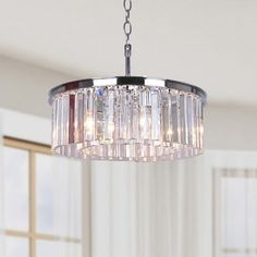 Justina 5-light Antique Black Chandelier with Crystal Glass Prisms | Overstock.com Shopping - The Best Deals on Chandeliers & Pendants