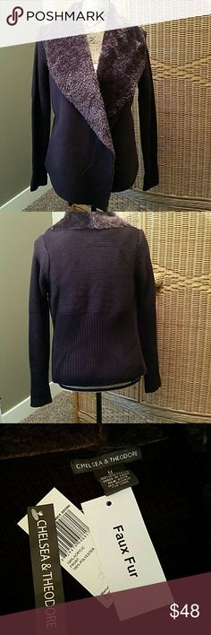 Chelsea & Theodore  brown faux fur sweater jacket This sweater jacket has a knitted sweater back and sleeves.  The wrap around front is faux suede with faux fur.  So warm for all those chilly fall and winter days and nights. Chelsea & Theodore  Jackets & Coats