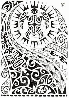 Desenho maori com tartaruga e máscara