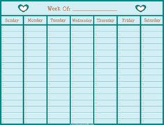 Free weekly to-do list calendar with open boxes to check off tasks as you finish them.  From www.lisaorganizeslife.com.