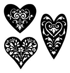 vintage hearts stencil templates collection 1